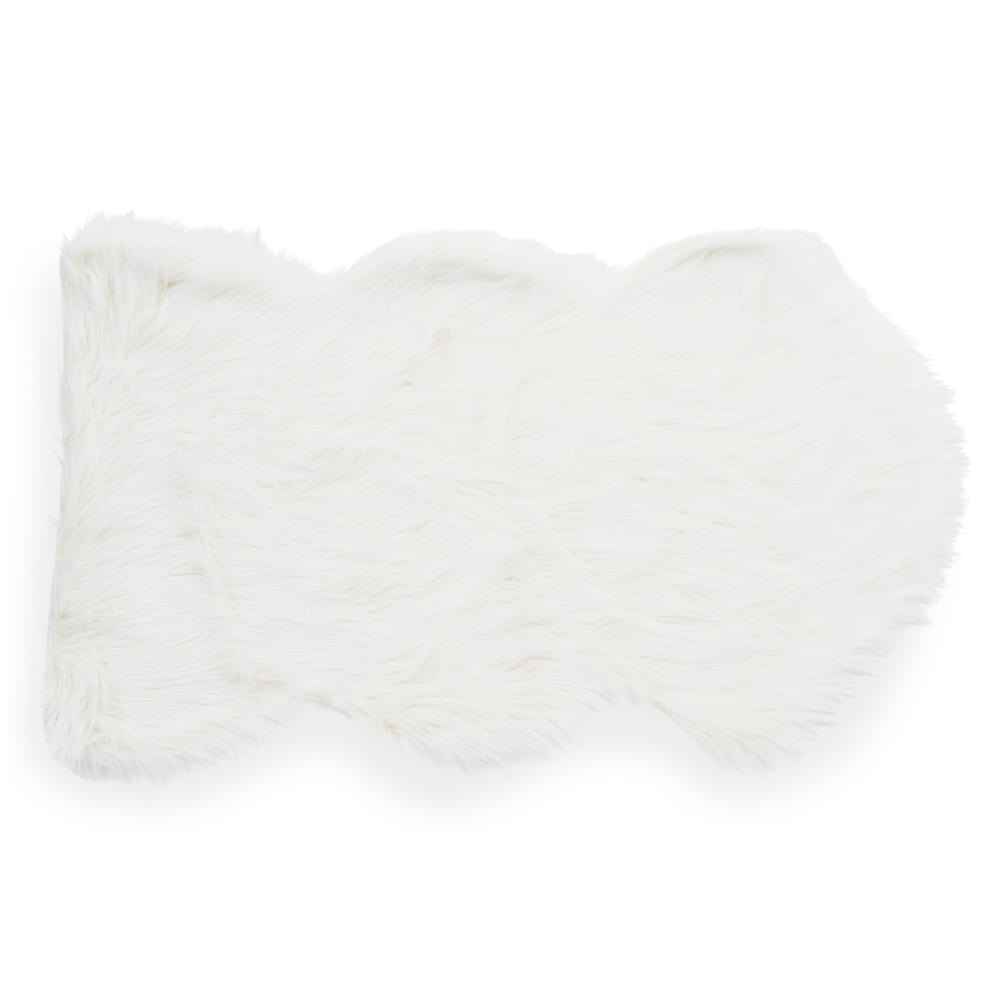 tapis en fausse fourrure blanc 60 x 100 cm eskimo maisons du monde. Black Bedroom Furniture Sets. Home Design Ideas