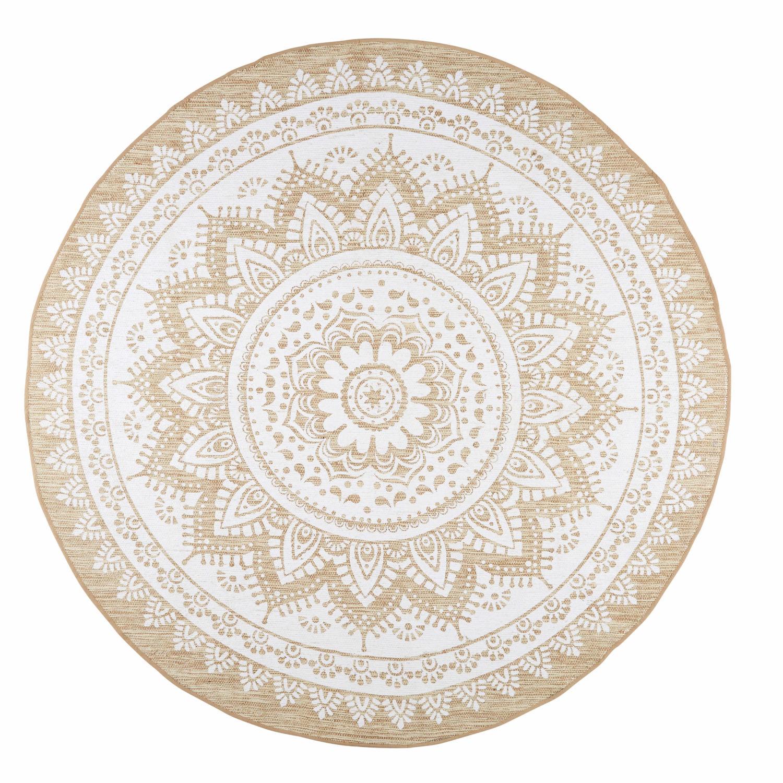 Tapis En Jute Et Coton Blanc D180 Mandala Maisons Du Monde