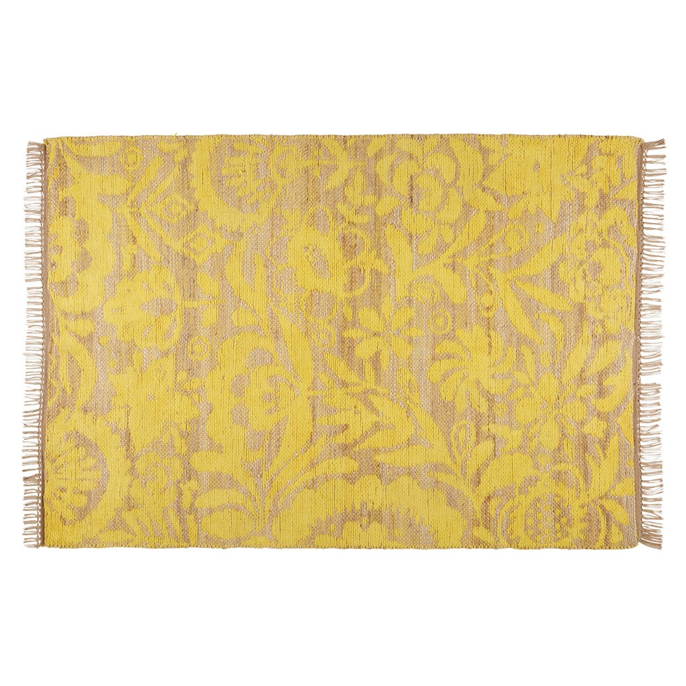 tapis en jute et coton jaune moutarde 140x200cm lukila maisons du monde. Black Bedroom Furniture Sets. Home Design Ideas