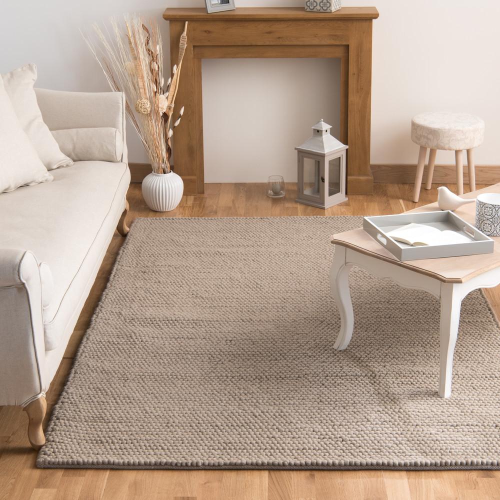 Tapis en laine beige 160 x 230 cm industry maisons du monde - Tapis salon beige ...