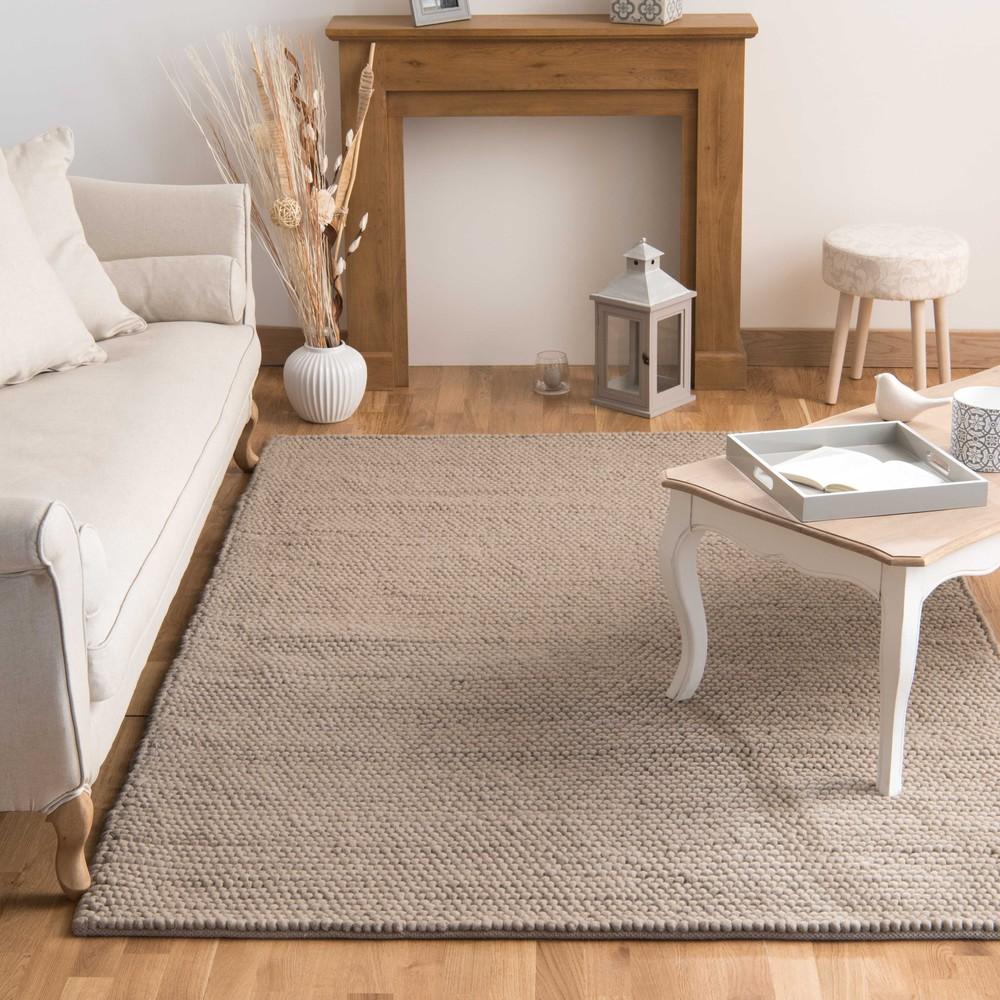 tapis en laine beige 200 x 300 cm industry maisons du monde. Black Bedroom Furniture Sets. Home Design Ideas