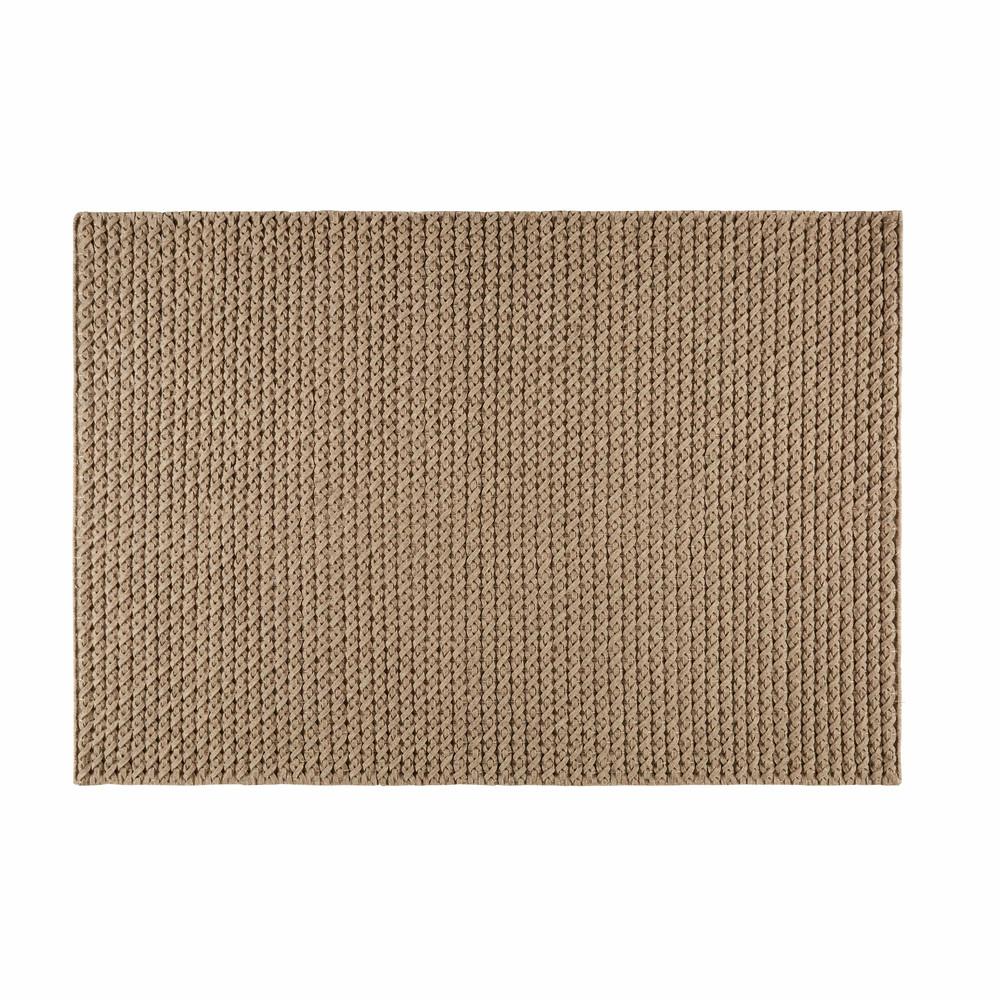 Tapis en laine et coton taupe 140x200cm mojave maisons - Laine pour tapis ...
