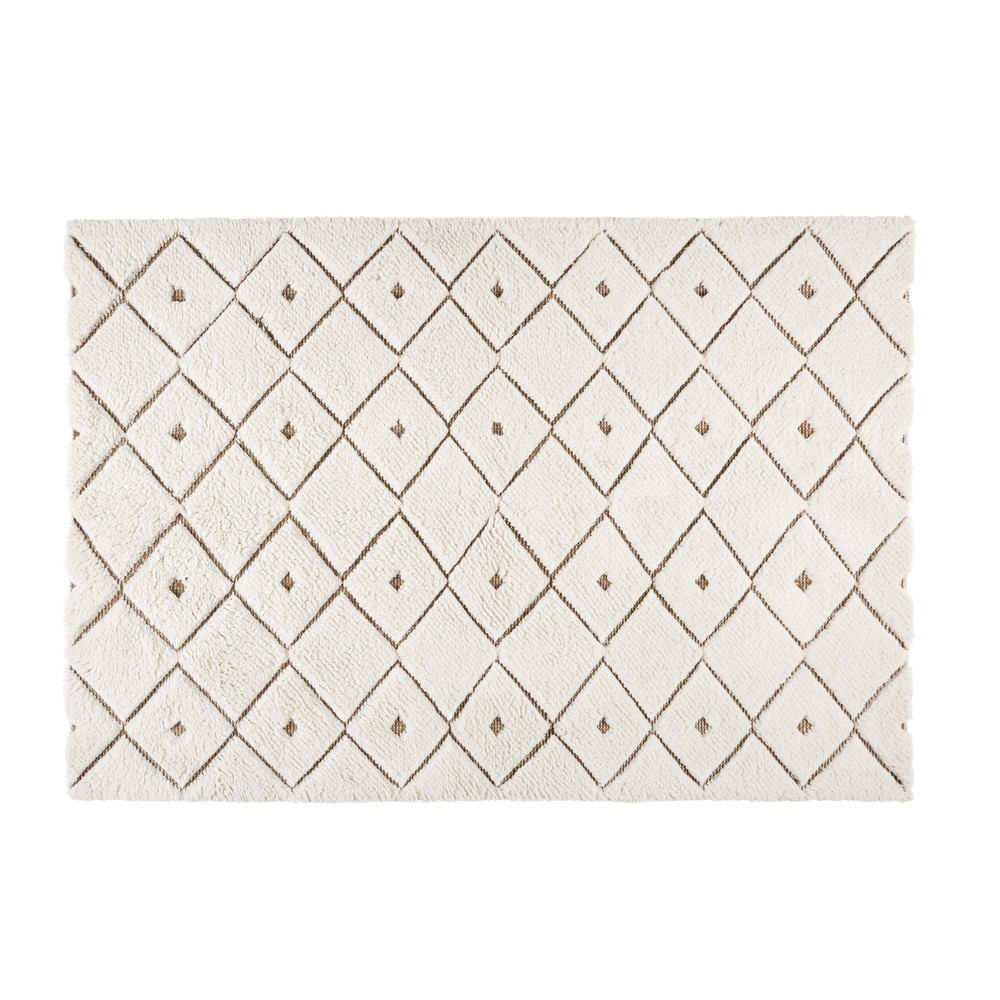 Tapis En Laine Et Tissu Blanc Motifs 140x200cm Klama Maisons Du Monde