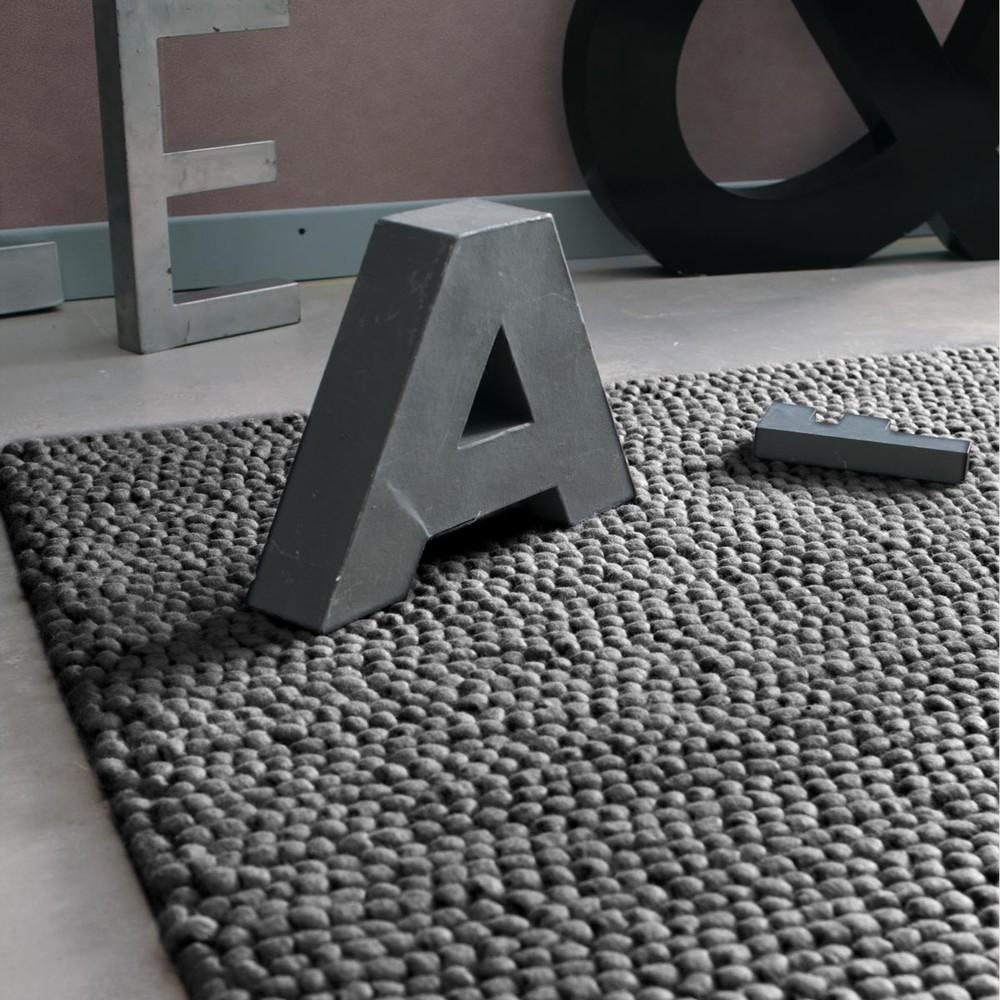 Tapis en laine gris 140 x 200 cm industry maisons du monde - Tapis de salon chez but ...