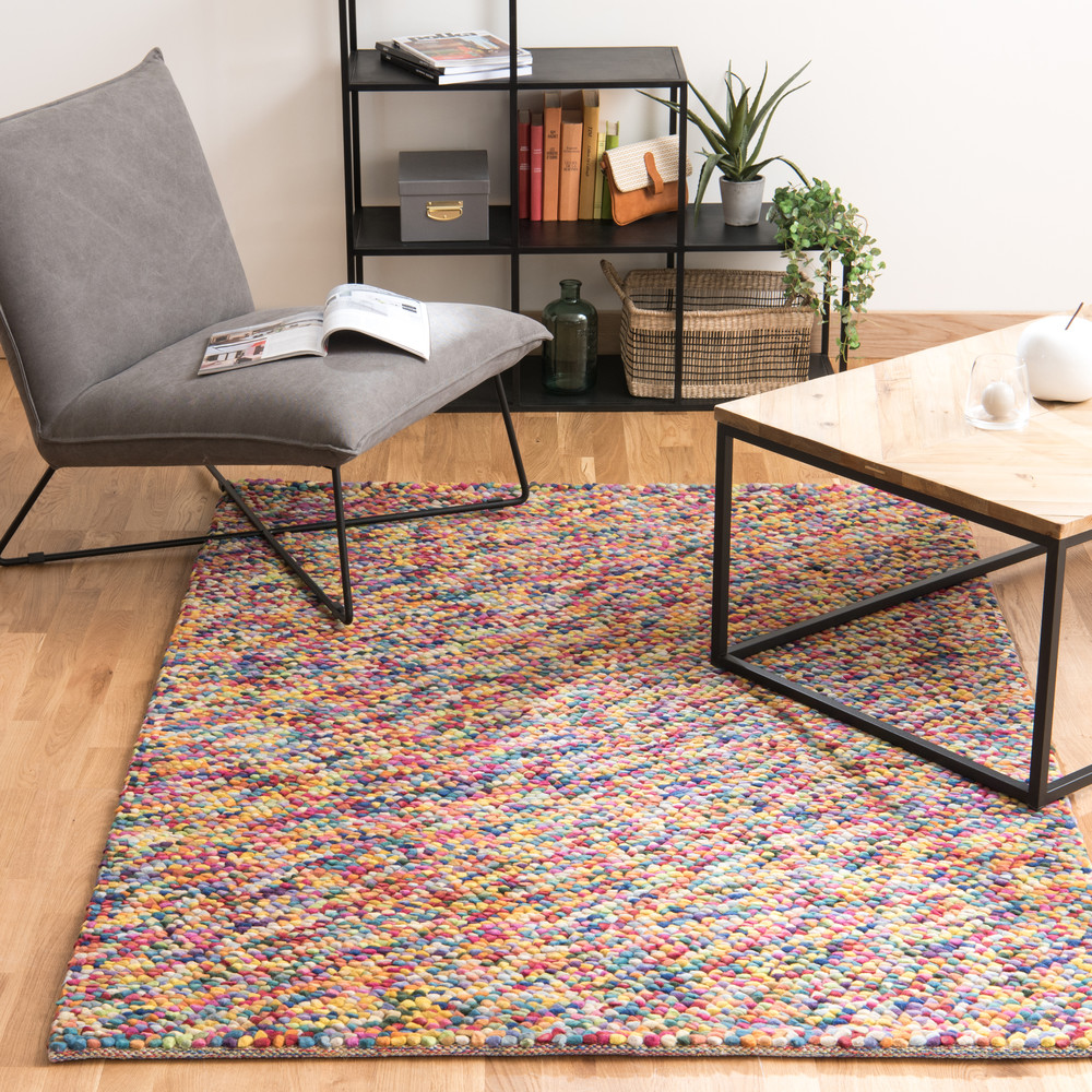 tapis en laine multicolore 140 x 200 cm rainbow maisons. Black Bedroom Furniture Sets. Home Design Ideas