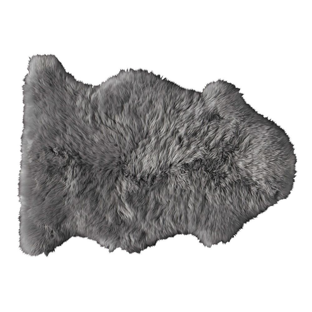 tapis en peau de mouton gris 55 x 90 cm maisons du monde
