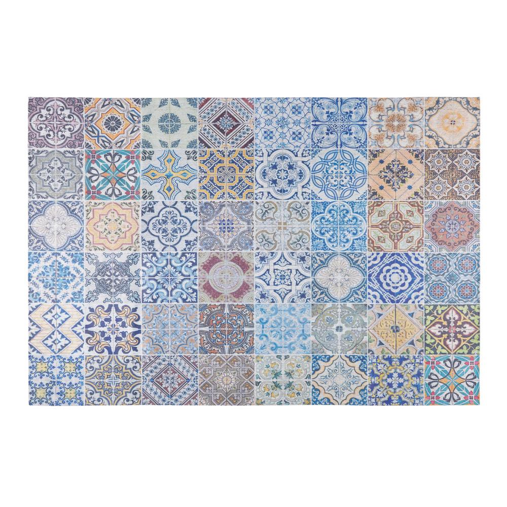 tapis en tissu motifs carreaux de ciment multicolores 140x220cm capri maisons du monde. Black Bedroom Furniture Sets. Home Design Ideas