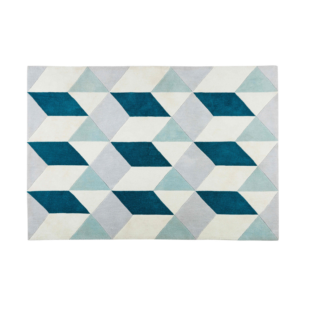 Tapis en tissu motifs graphiques bleus et gris 140x200cm ANDY ...