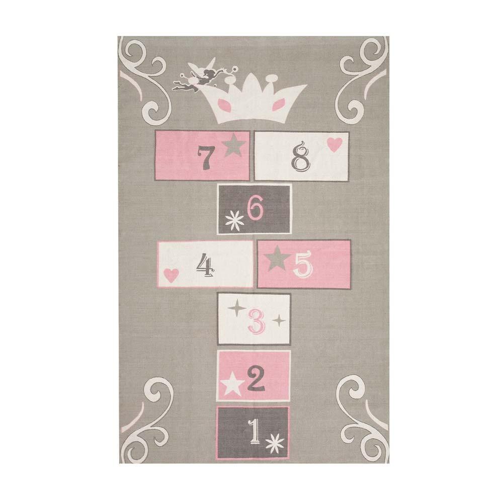 Tapis enfant marelle en coton gris rose 120 x 180 cm princesse maisons du monde for Tapis chambre enfant