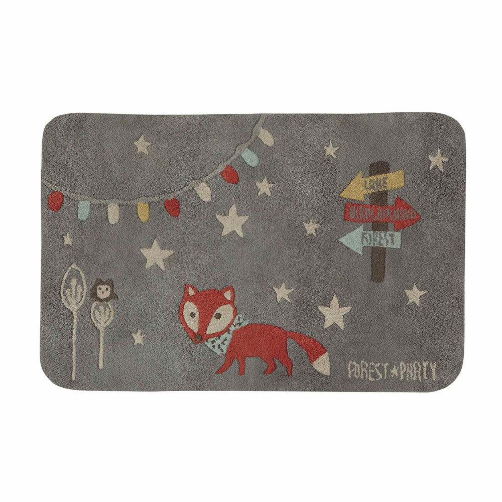 tapis enfant renard en coton gris 80 x 120 cm forest maisons du monde. Black Bedroom Furniture Sets. Home Design Ideas
