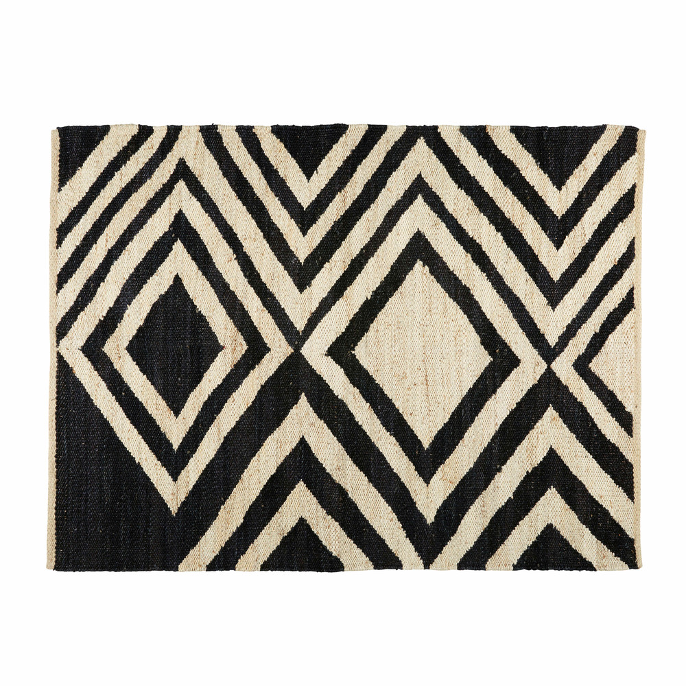 tapis ethnique en jute noir et cru 140x200cm blosia. Black Bedroom Furniture Sets. Home Design Ideas