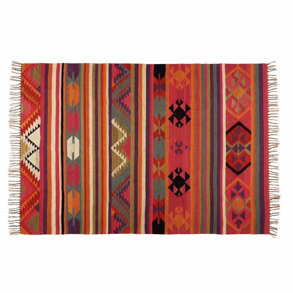 tapis ethnique en laine multicolore 140x200cm kilima maisons du monde. Black Bedroom Furniture Sets. Home Design Ideas