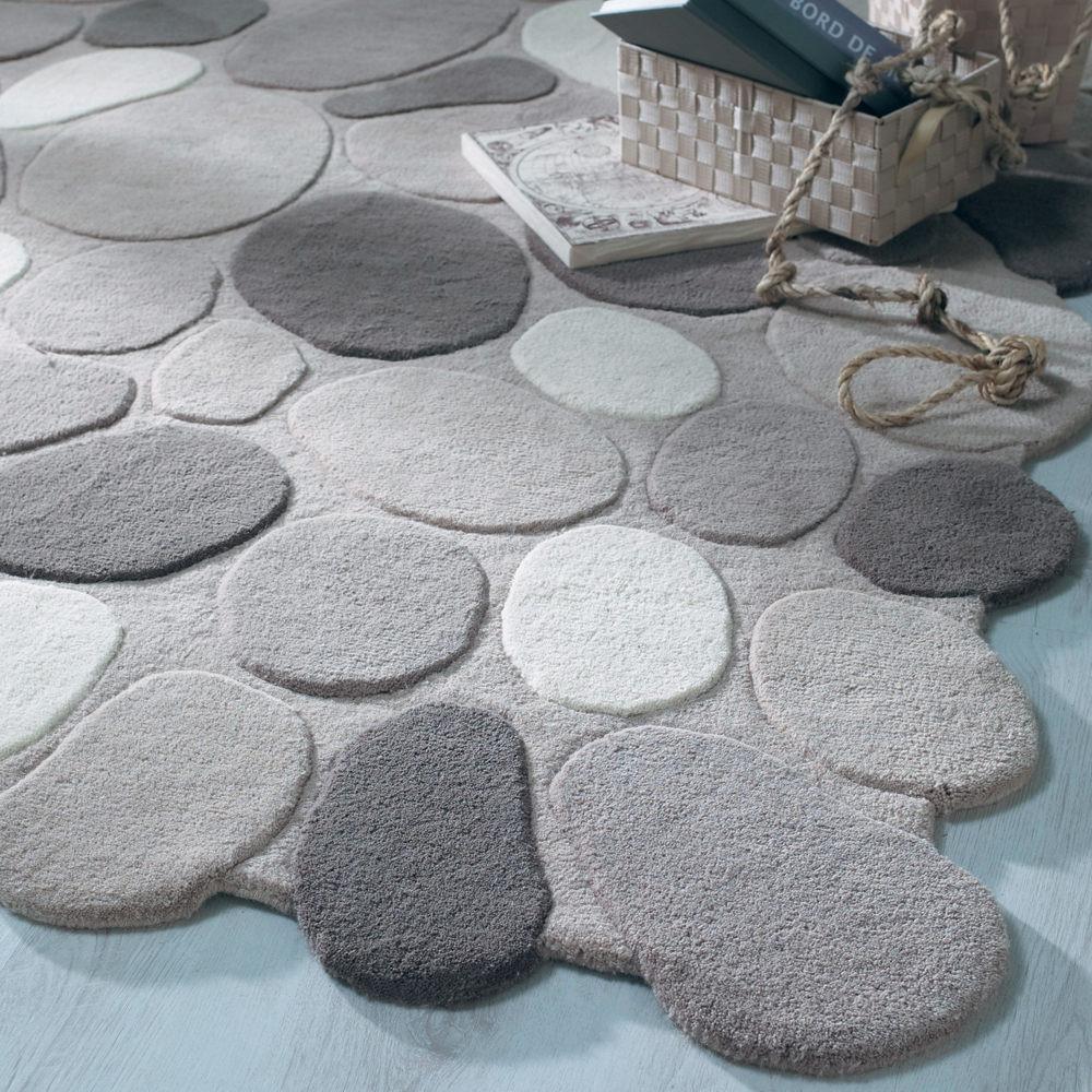 tapis galet gris maisons du monde. Black Bedroom Furniture Sets. Home Design Ideas