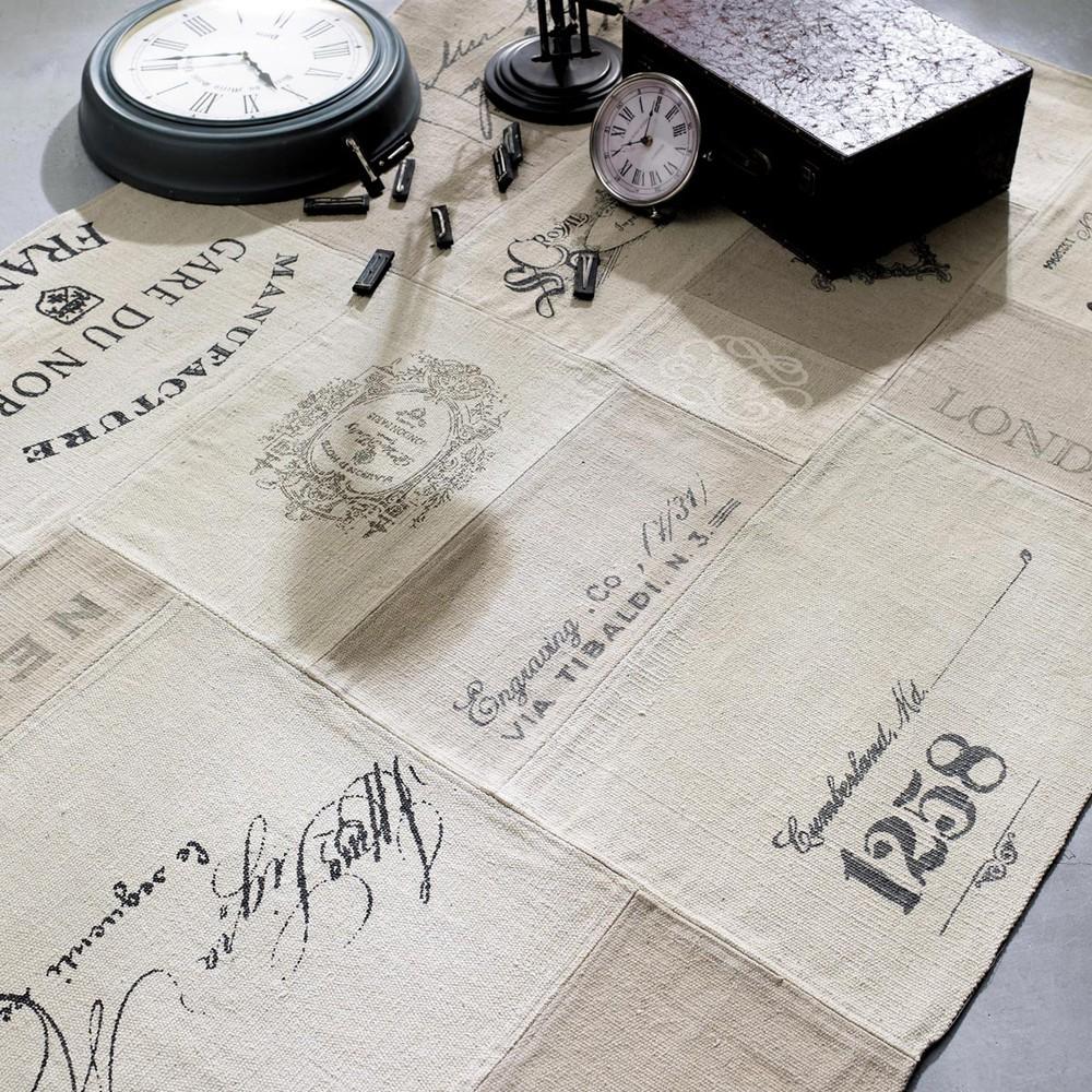 tapis imprim en coton beige 140 x 200 cm manufacture maisons du monde. Black Bedroom Furniture Sets. Home Design Ideas