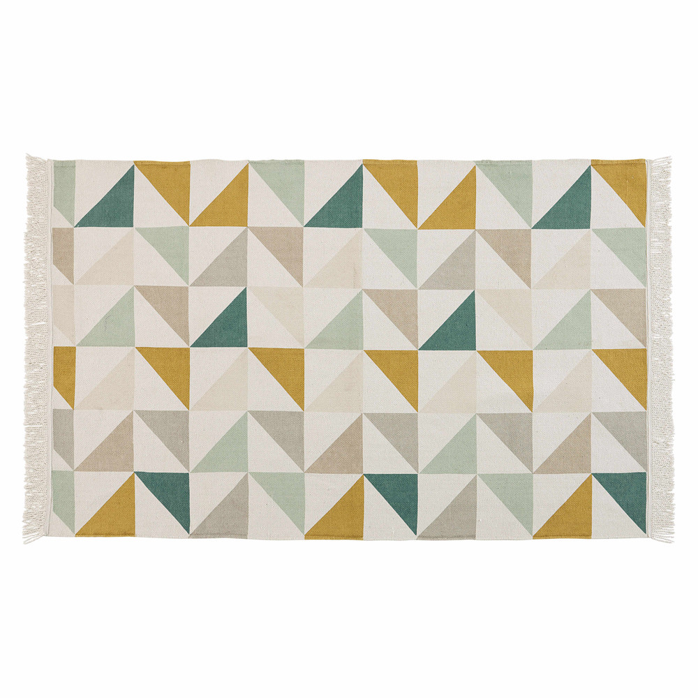 Tapis Motif Triangles En Coton 120 X 180 Cm Gaston Maisons Du Monde