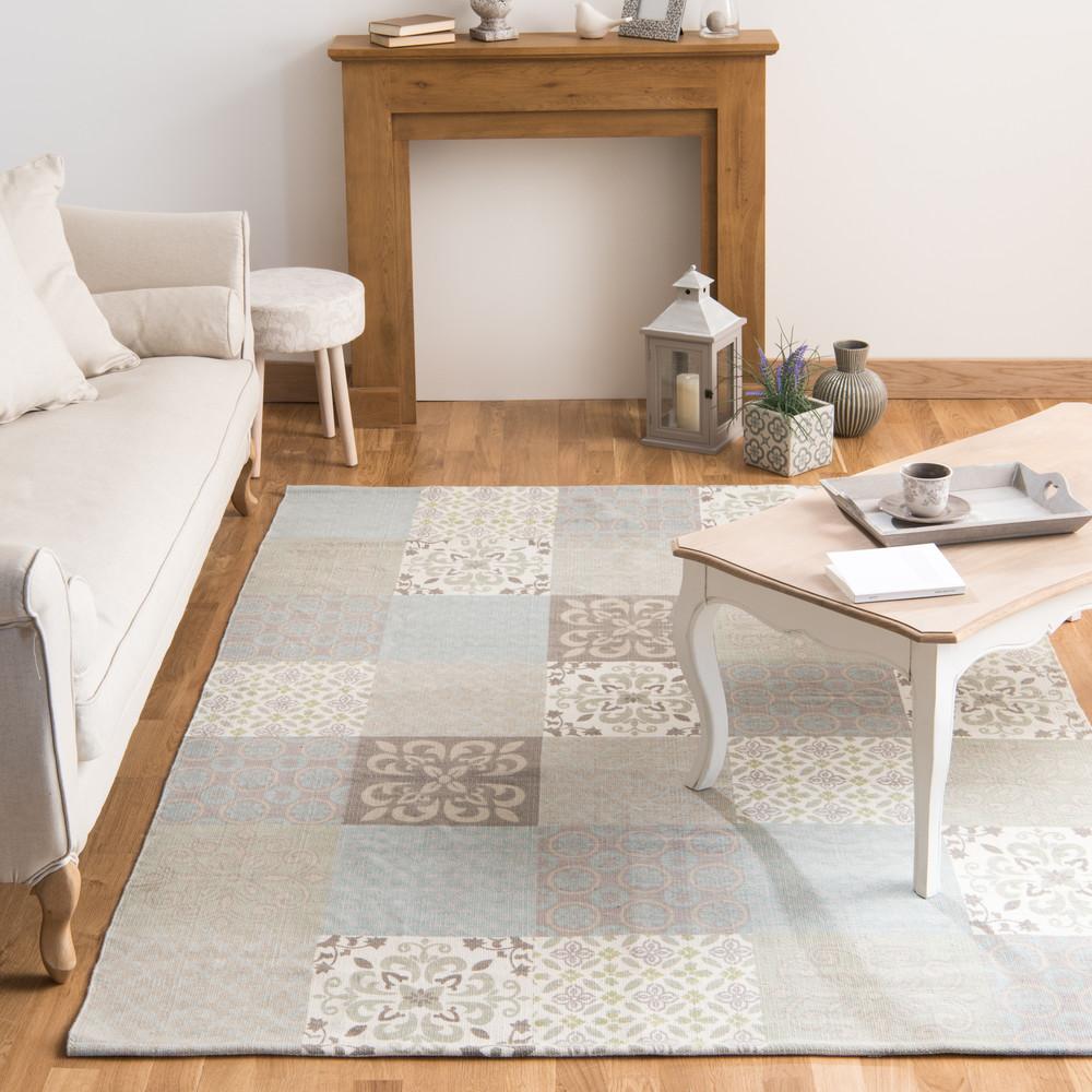 tapis motifs carreaux de ciment beiges et bleus 200x300cm. Black Bedroom Furniture Sets. Home Design Ideas