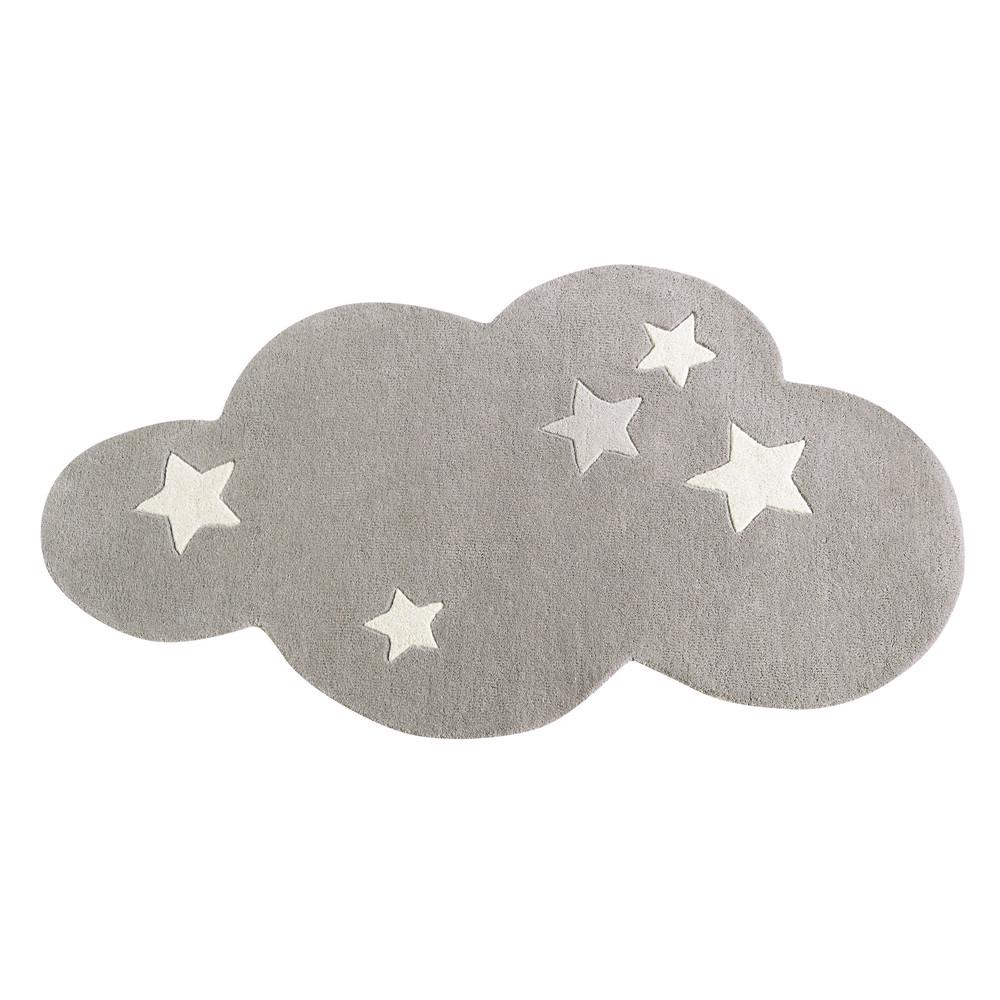 Tapis Chambre Bebe Nuage : Tapis nuage à poils courts en laine grise cm