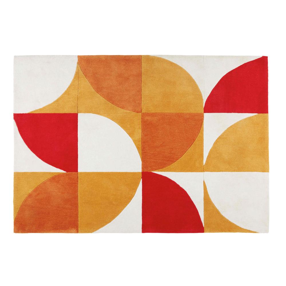 tapis r tro motifs tricolores 140x200cm popundy maisons du monde. Black Bedroom Furniture Sets. Home Design Ideas
