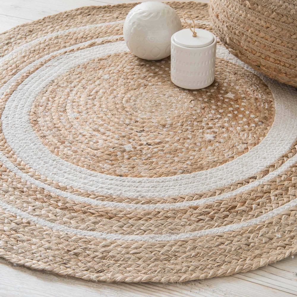 tapis rond en coton blanc et jute leigh maisons. Black Bedroom Furniture Sets. Home Design Ideas