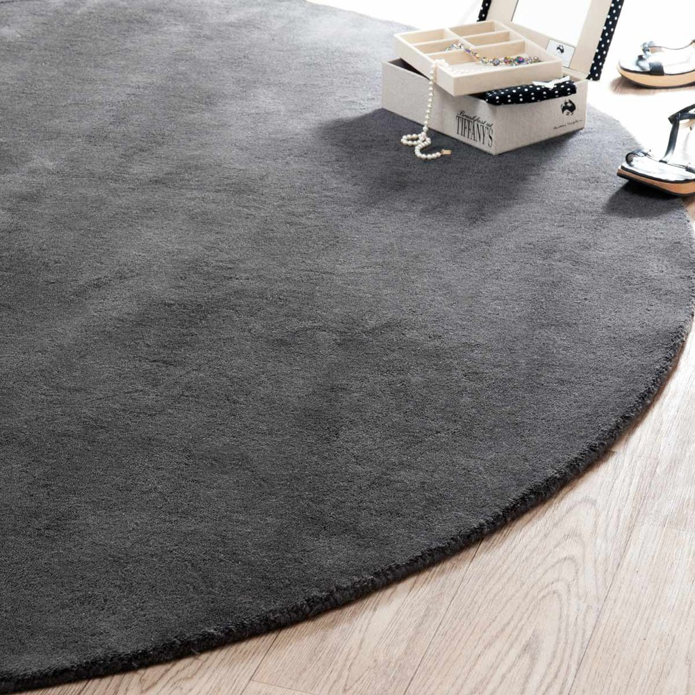 tapis rond soft anthracite 200 cm diam tre maisons du monde. Black Bedroom Furniture Sets. Home Design Ideas