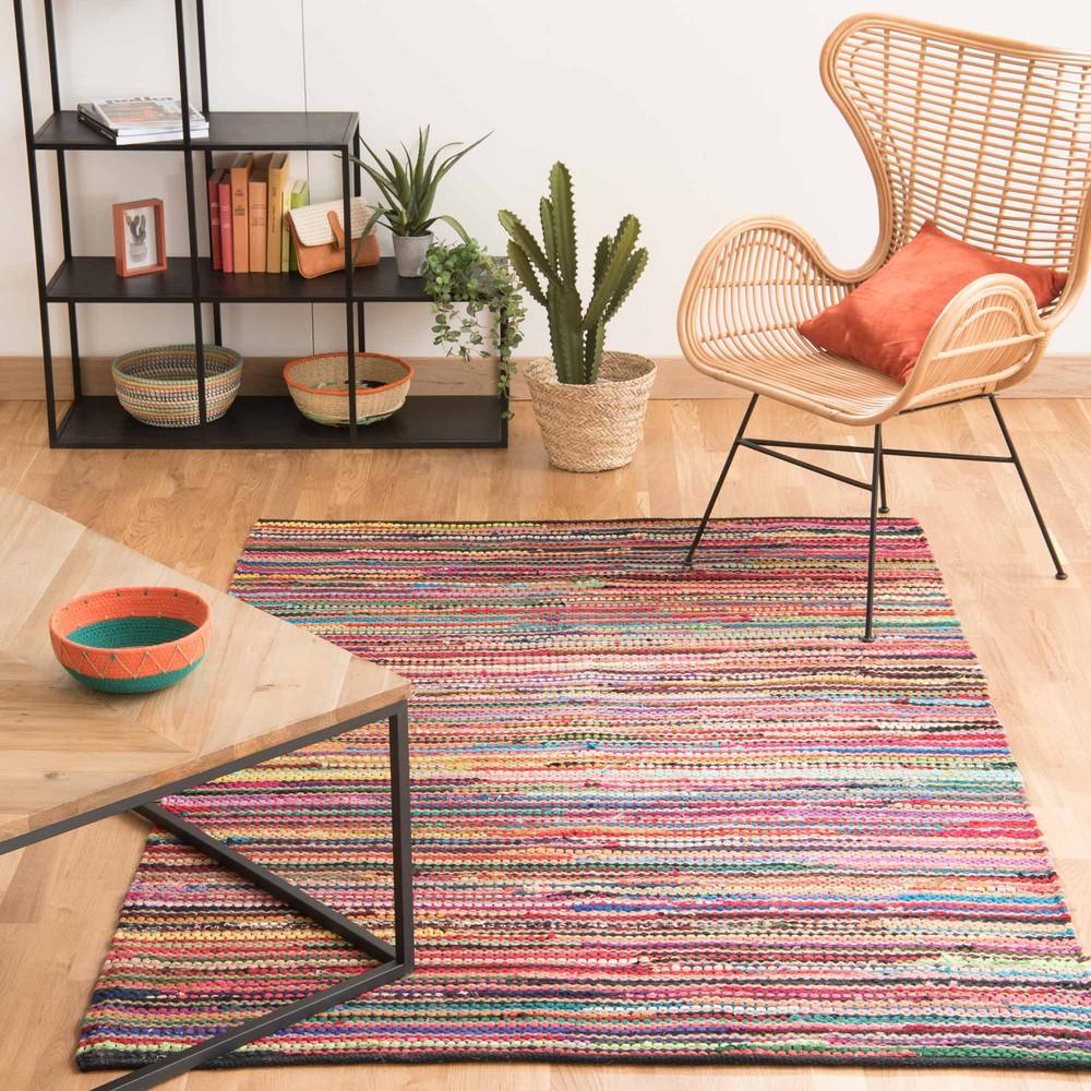 Tapis tressé en coton multicolore 140 x 200 cm ROULOTTE | Maisons ...