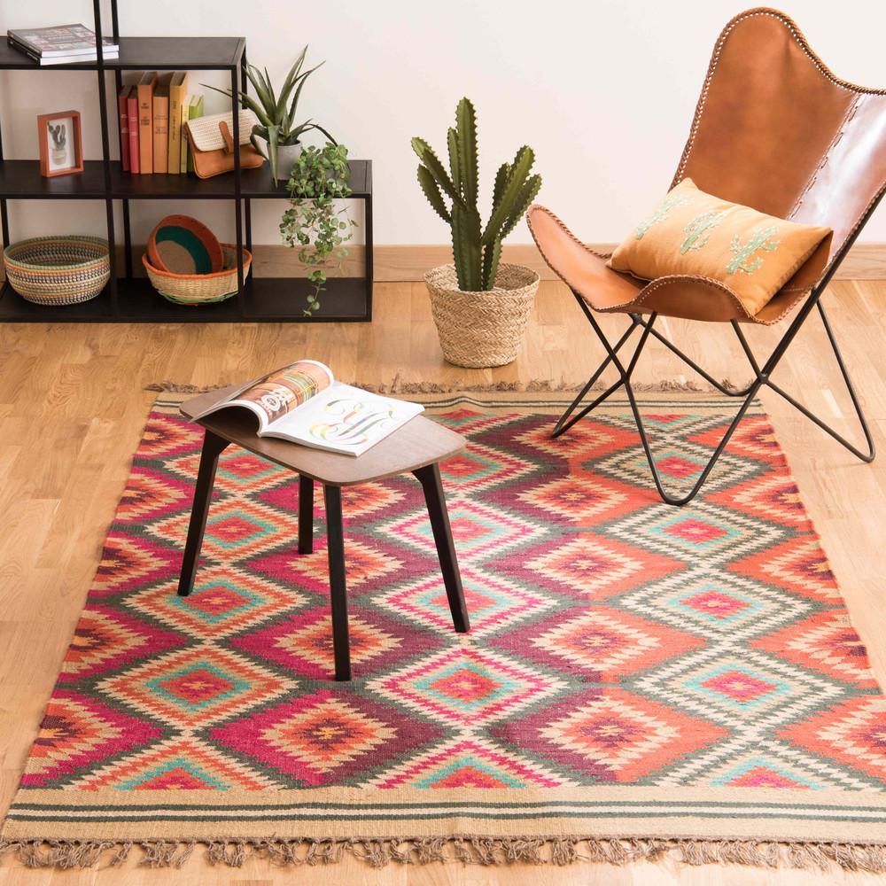 tapis tress en laine multicolore 140 x 200 cm acapulco maisons du monde. Black Bedroom Furniture Sets. Home Design Ideas