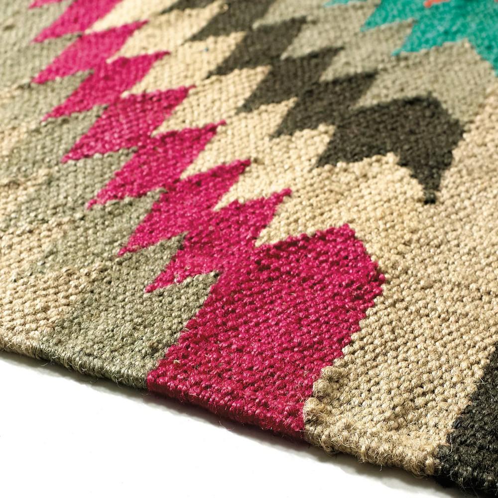 Tapis tress en laine multicolore 80 x 300 cm acapulco - Tapis zebre maison du monde ...