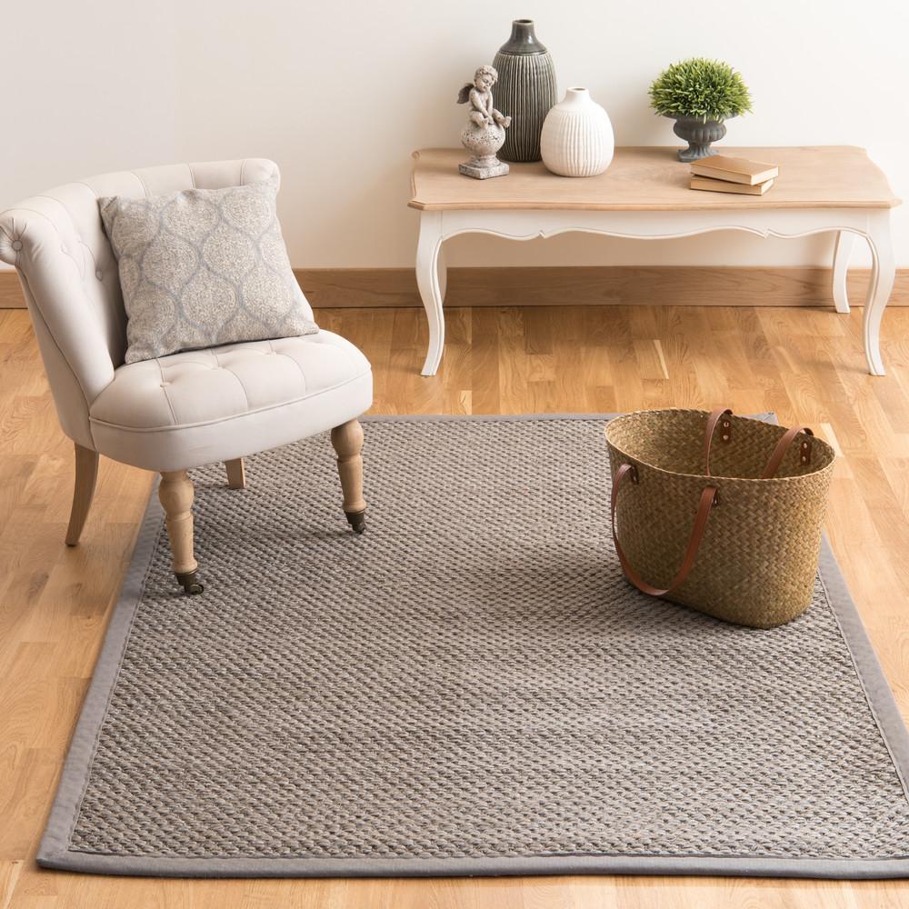 tapis tress en sisal gris 140 x 200 cm bastide maisons du monde. Black Bedroom Furniture Sets. Home Design Ideas