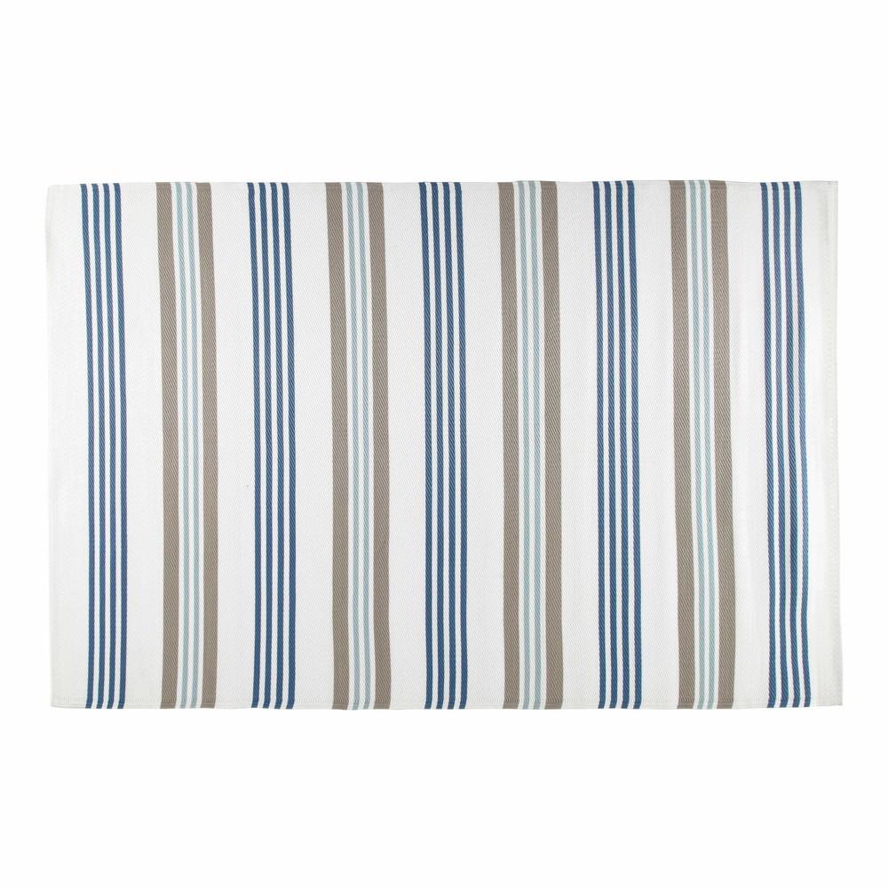 Tappeto beige e blu da esterno in tessuto 180 x 270 cm - Tappeto esterno ...