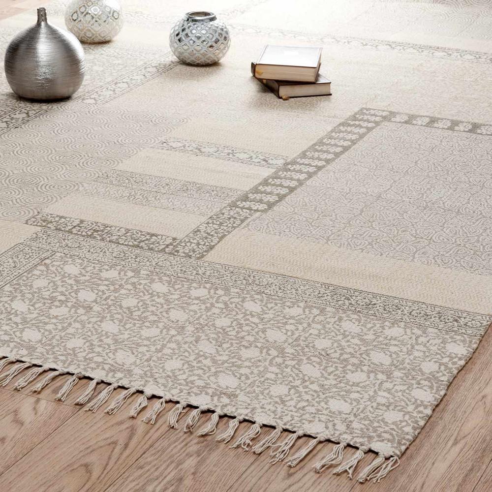 Tappeto beige in cotone a pelo corto 160 x 230 cm MENARA | Maisons ...