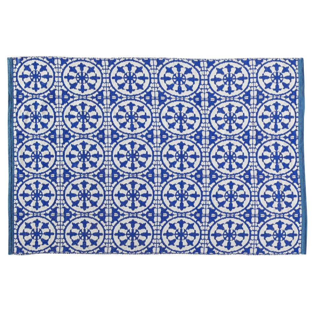 Tappeto Pvc Intrecciato : Tappeto blu e bianco da esterno in pvc cm