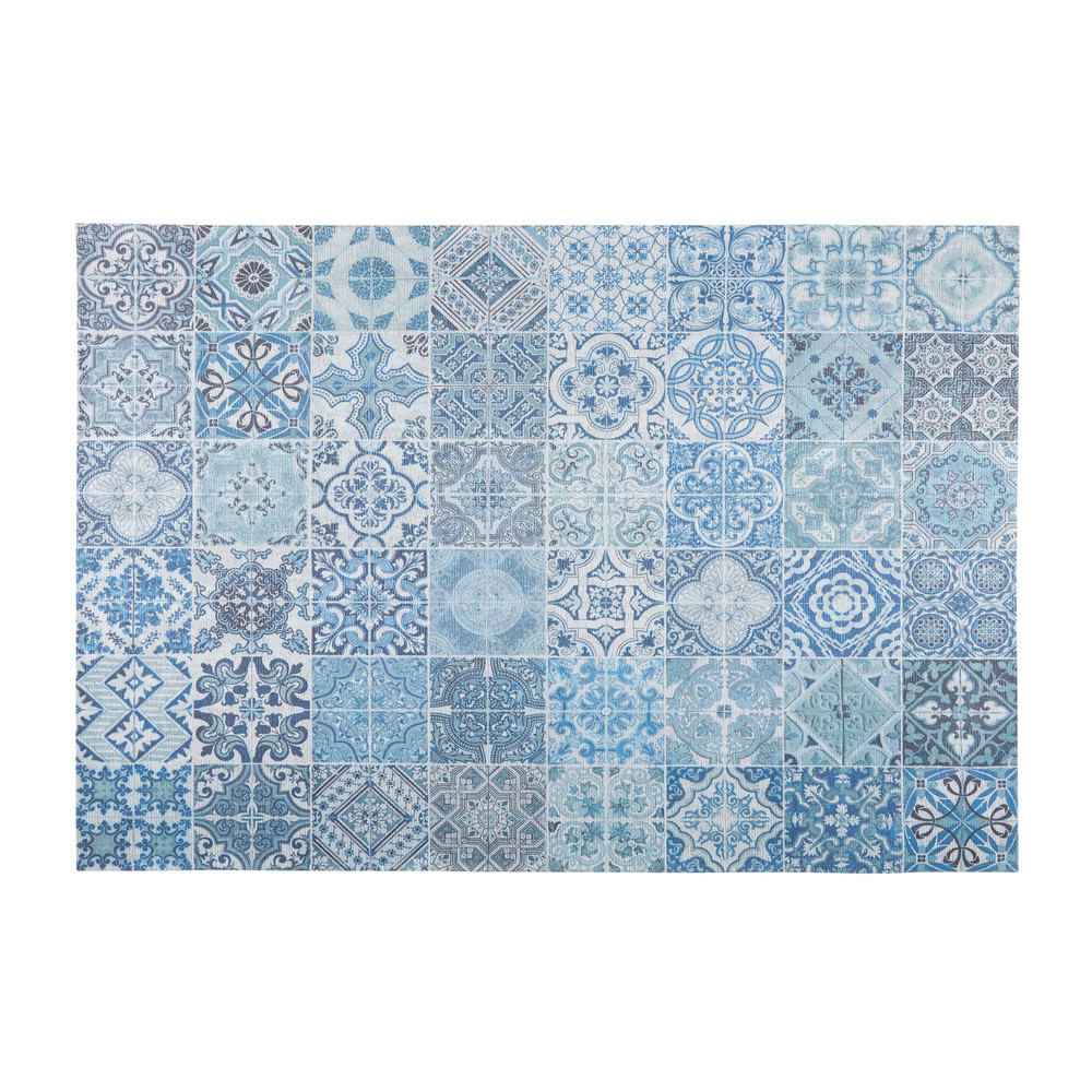 Tappeto con motivi a mattonelle in cemento blu 140x200cm - Tappeti da esterno maison du monde ...