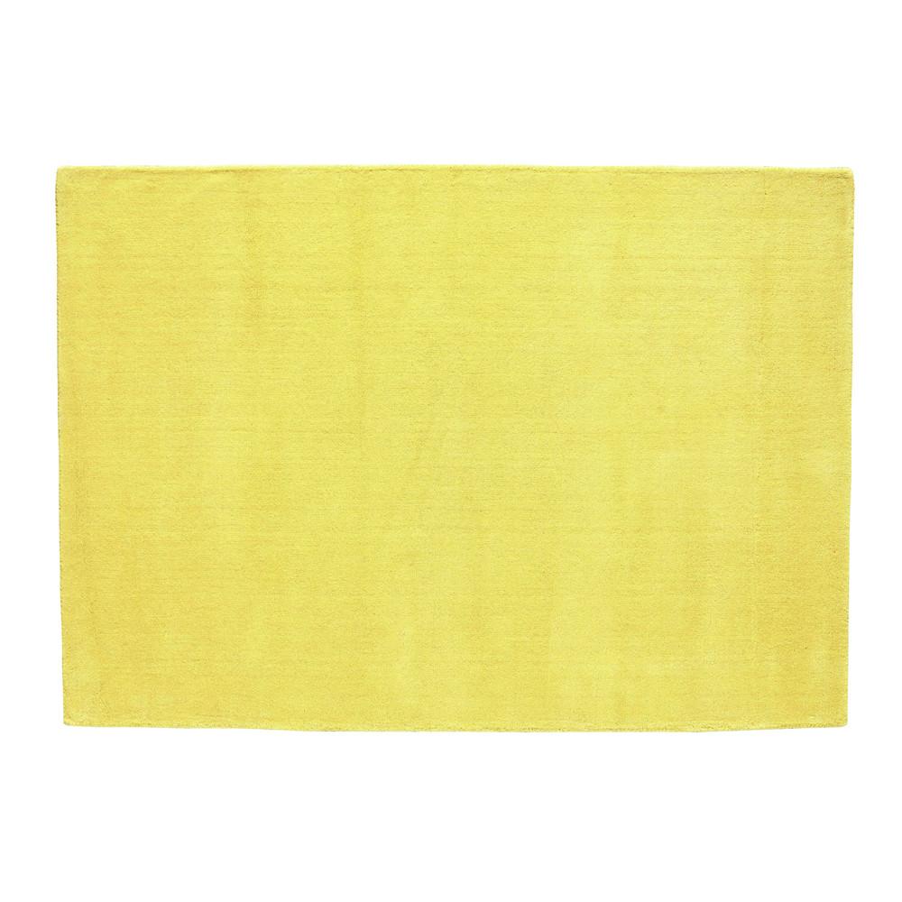 Tappeto giallo senape in lana a pelo corto 140 x 200 cm ...