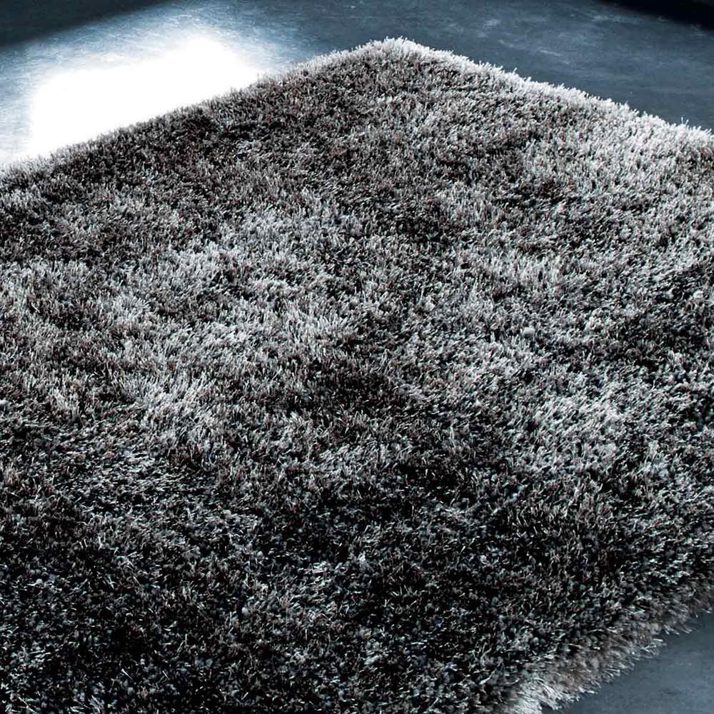 Tappeto grigio antracite a pelo lungo 140 x 200 cm polaire - Tappeto a pelo lungo ...