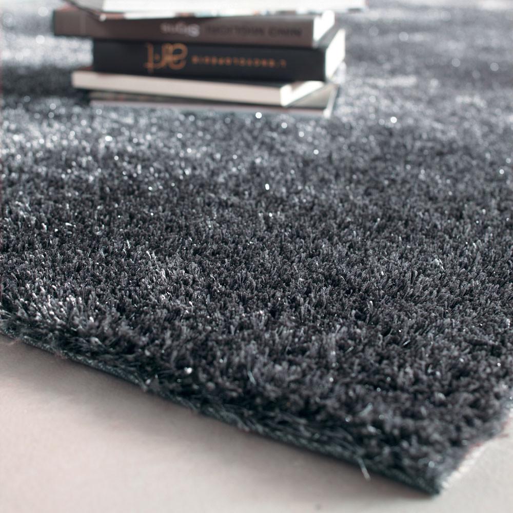 Tappeto grigio in tessuto a pelo lungo 160 x 230 cm - Tappeto a pelo lungo ...