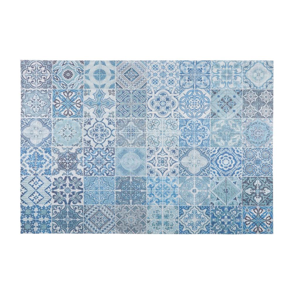Tappeto in tessuto con motivi a mattonelle di cemento blu - Maison du monde catalogo tappeti ...