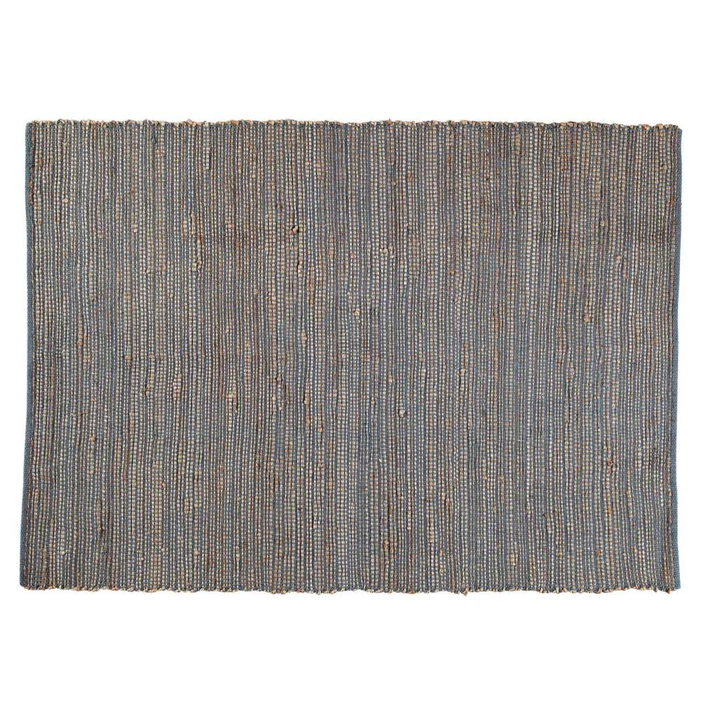 Tappeto Grigio : Tappeto intrecciato grigio in cotone e iuta cm