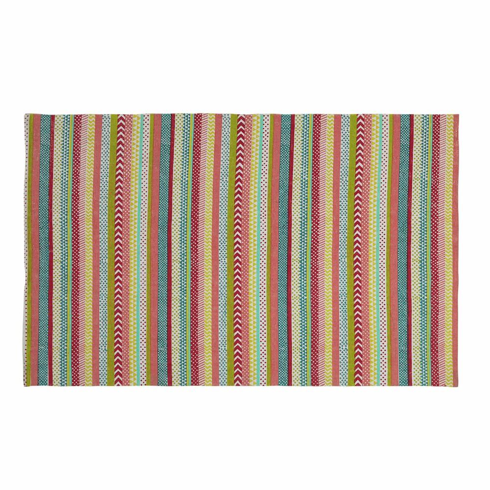 Tappeto multicolore a righe in cotone 120 x 180 cm TWIST ...