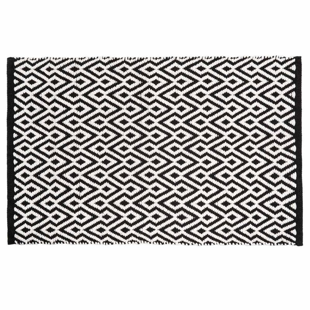 Tappeto nero e bianco a motivi in cotone a pelo corto 60 x - Tappeto bianco nero ...