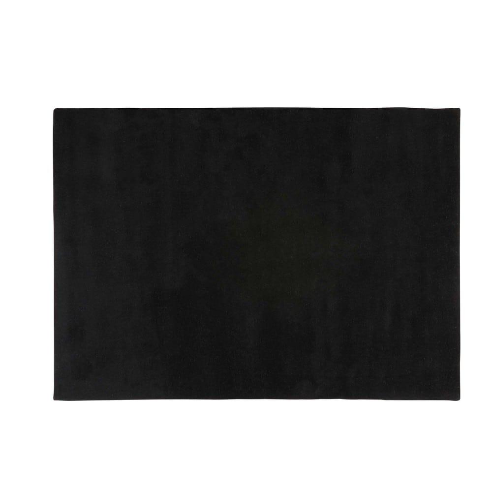 Tappeto nero in lana a pelo corto 140 x 200 cm soft - Tappeto pelo corto ...