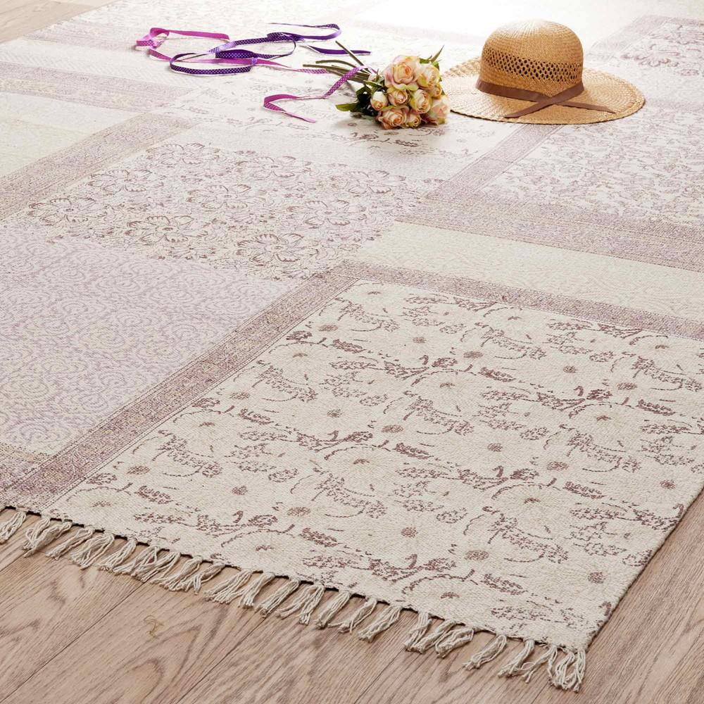 Tappeto rosa in cotone a pelo corto 160 x 230 cm MENARA | Maisons ...