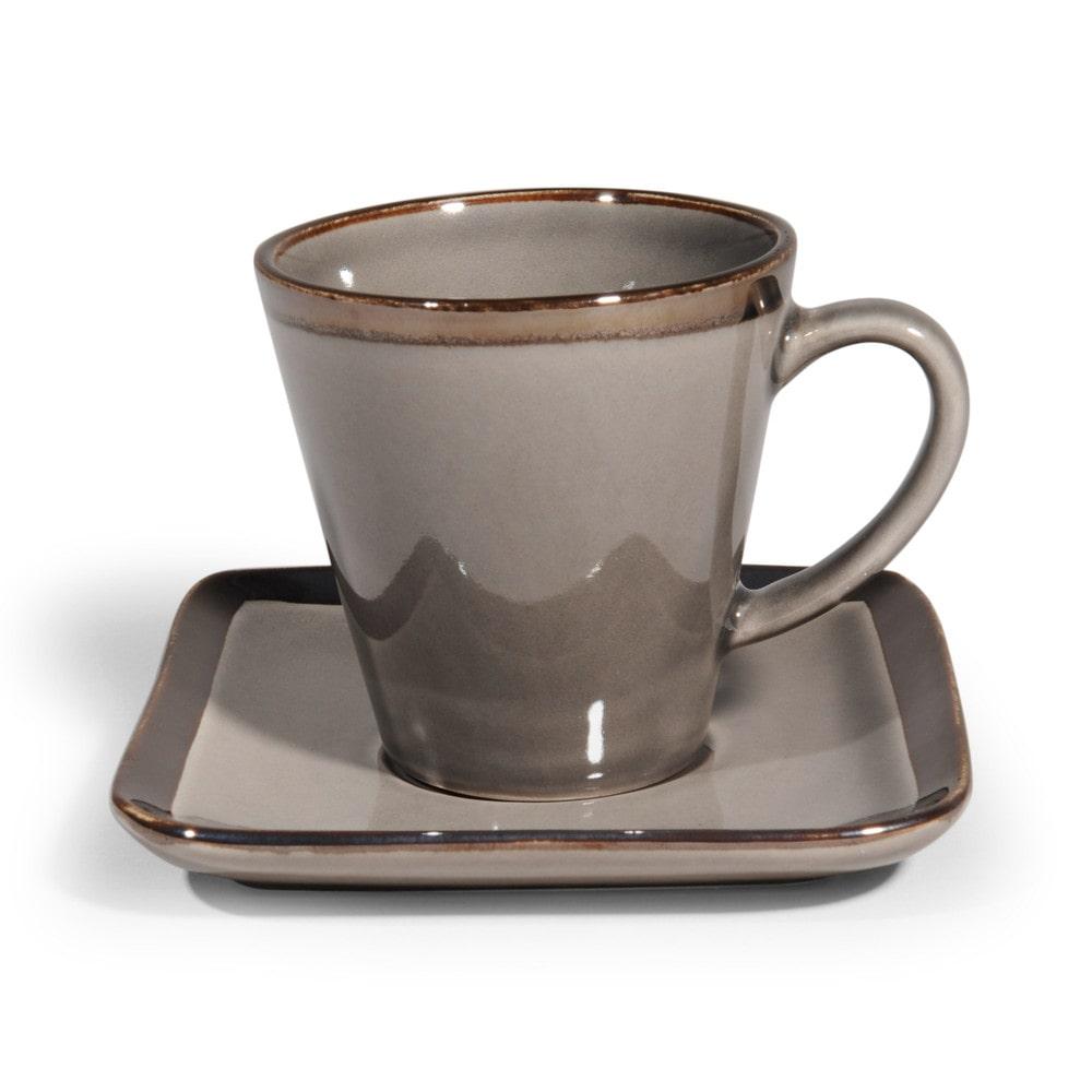 Tasse caf et soucoupe en gr s grise allure maisons du monde - Tasse maison du monde ...