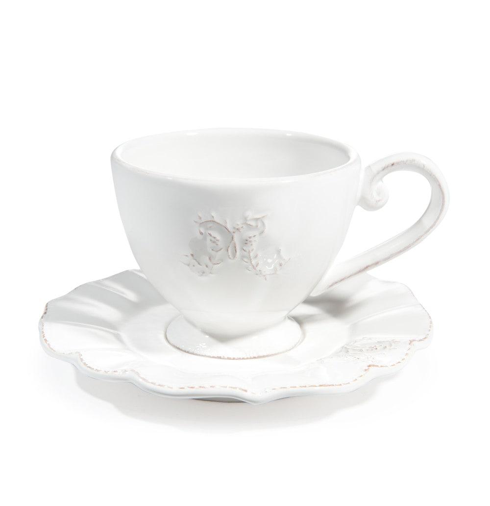 tasse et soucoupe caf en fa ence blanche bourgeoisie maisons du monde. Black Bedroom Furniture Sets. Home Design Ideas