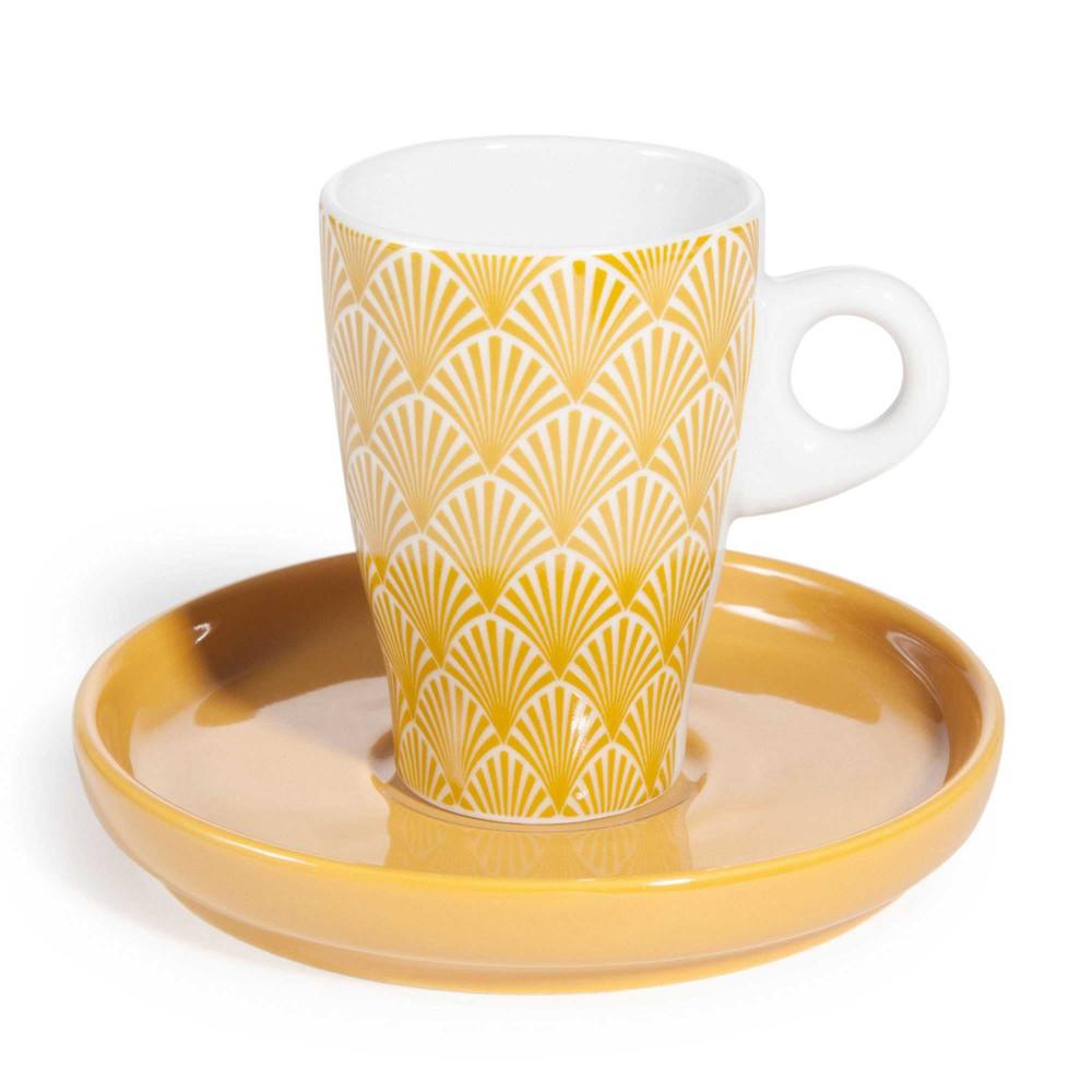 tasse et soucoupe caf en porcelaine jaune coventry maisons du monde. Black Bedroom Furniture Sets. Home Design Ideas