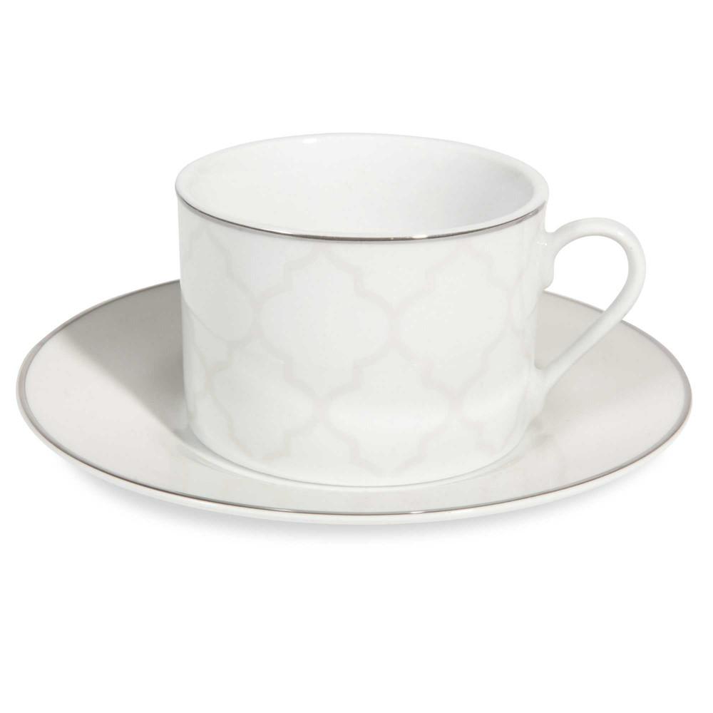 tasse et soucoupe th en porcelaine blanche elisabeth maisons du monde. Black Bedroom Furniture Sets. Home Design Ideas