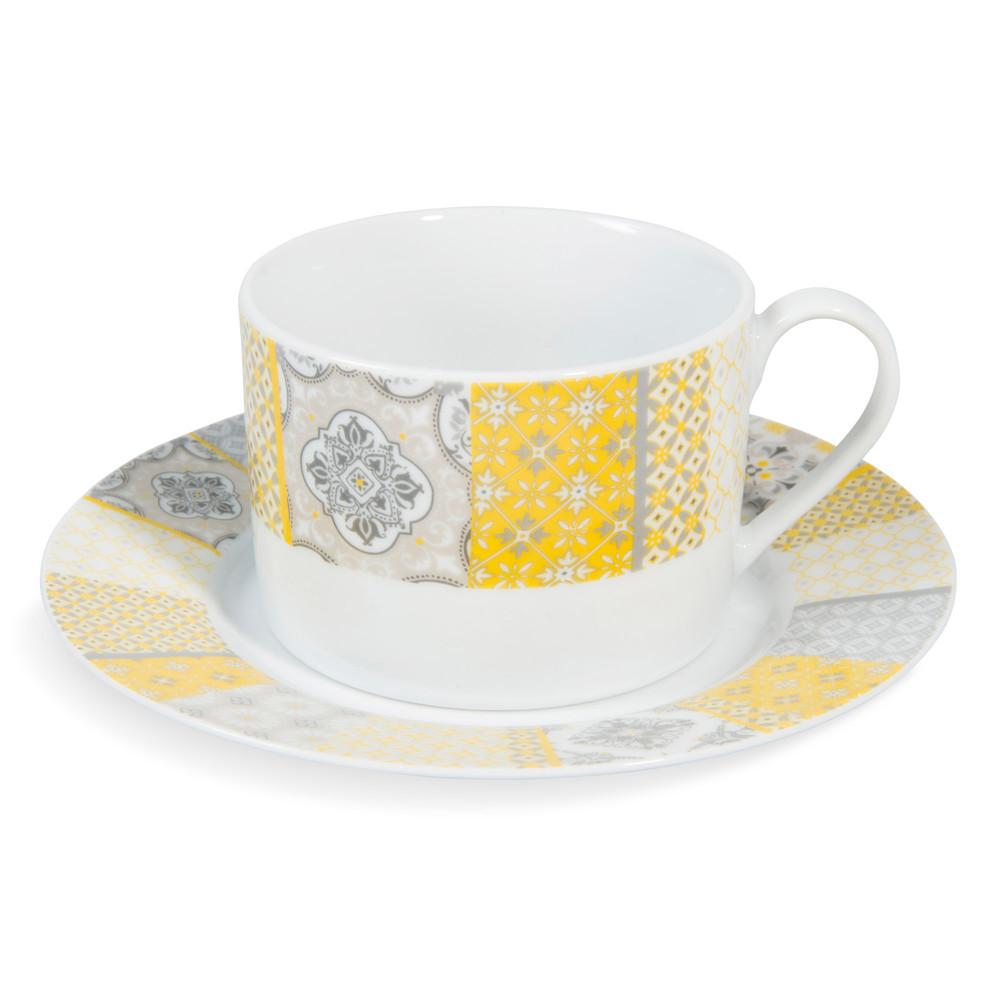 tasse et soucoupe th en porcelaine jaune grise alicante maisons du monde. Black Bedroom Furniture Sets. Home Design Ideas