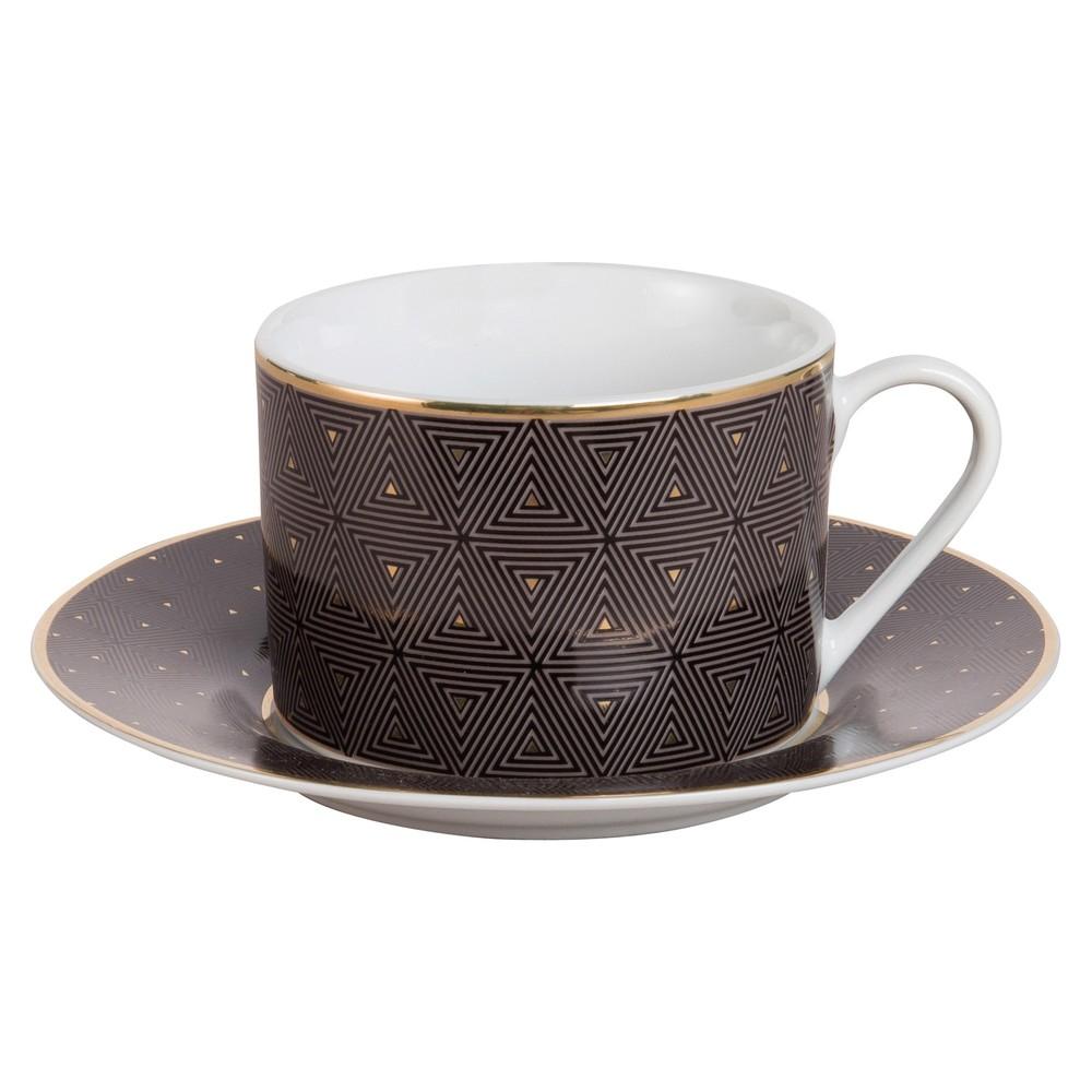 tasse et soucoupe th en porcelaine motifs triangles maisons du monde. Black Bedroom Furniture Sets. Home Design Ideas