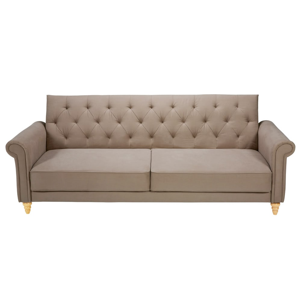 Taupe 3 seater tufted cotton sofa bed lise maisons du monde for Sofas tapizados clasicos
