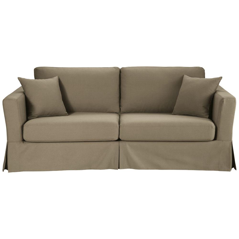 taupe katoenen 3 plaatsen slaapbank royan maisons du monde. Black Bedroom Furniture Sets. Home Design Ideas