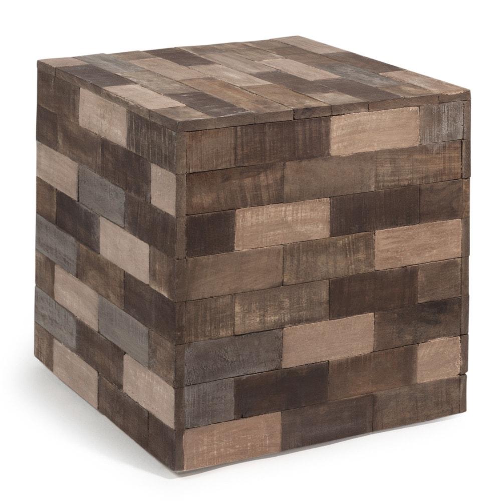 Tavolino da salotto multicolore in legno a forma di cubo l for Tavolino salotto legno